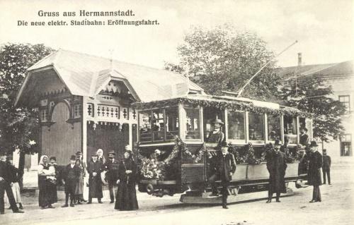 Nagyszeben:az új villamos első útja,1905.