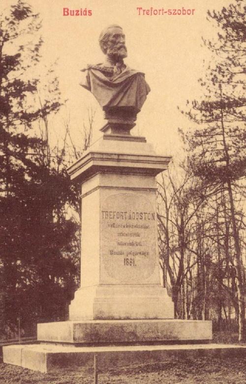 Buziás:1881-ben állitott Trefort szobor,1909-ben.