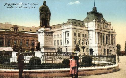 Nagyvárad:Szent László szobra a városházával,1915.
