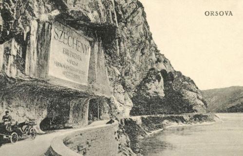 Orsova:Széchenyi emléktábla a Kazán-szorosban,1915-ben.