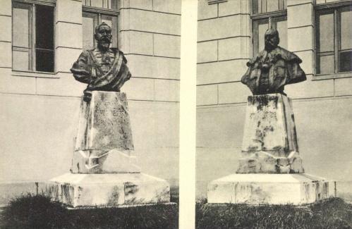 Szászváros:Kún Kocsárd és Kún Géza grófok szobra,1910-ben.