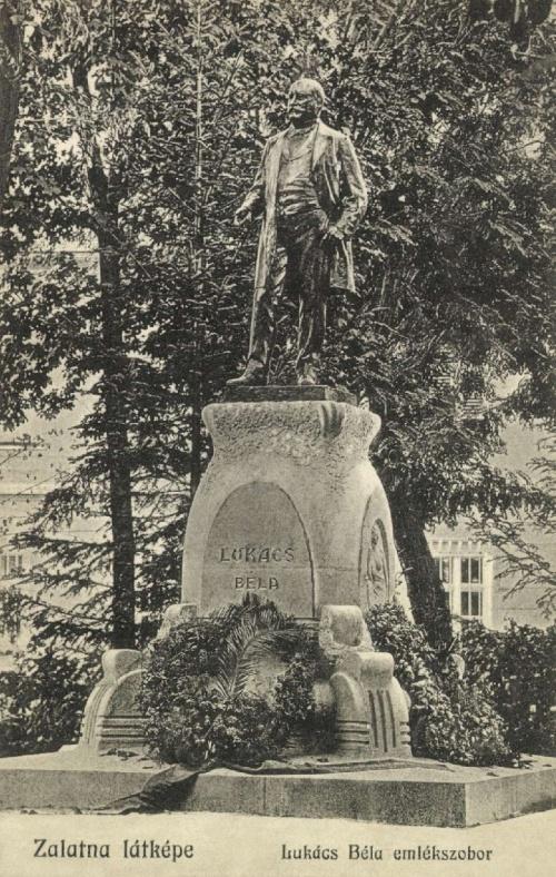 Zalatna:LukácsBéla kereskedelmi és közlekedési miniszter szobra,1914