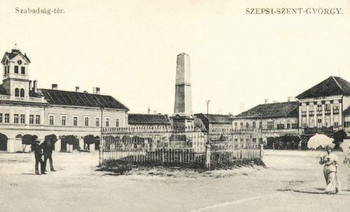 Szabadság-tér:Leányiskola,honvéd emlékmű,Városháza,1910.