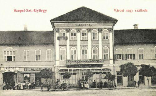 Városháza,Városi Nagy Szálloda és Kávéház,Berkovics üzlete,1908