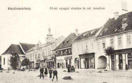 Főtér nyugati részlete és református templom,1915.