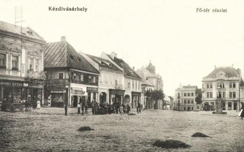 Főtéri részlet:Bandy István,Szőcs Lajos,Kovács Kelemen üzlete,1915.