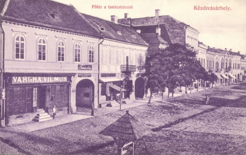 Főtér:Tanácsháza (városháza),Vargha Vilmos üzlete,1906.