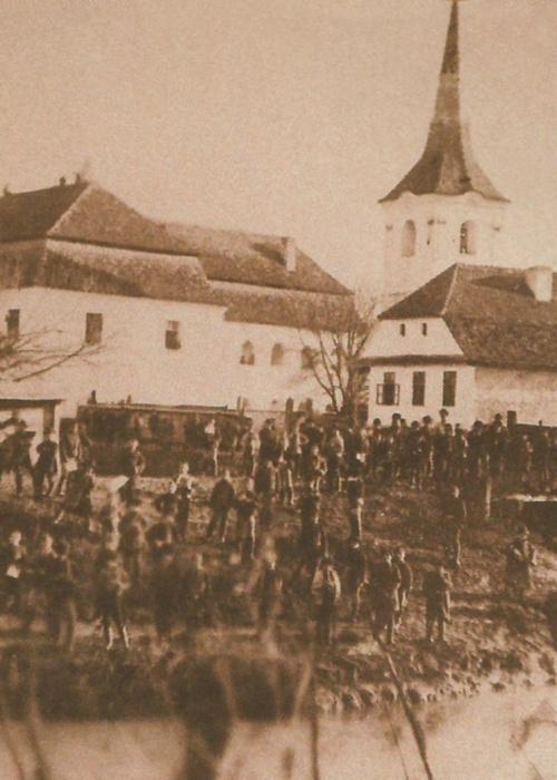 Székelykeresztúr:látkép a templommal,1865 körül.