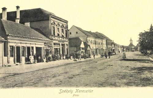 Székelykeresztúr-Cristuru Secuiesc:Főtér,Rösler,Gábor,Lengyel üzletek,1906.
