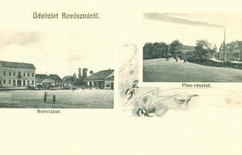 Kovászna:borvízkút és piac,1906.